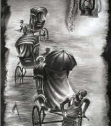 Light | Painting by artist Ananda Das | charcoal | Paper
