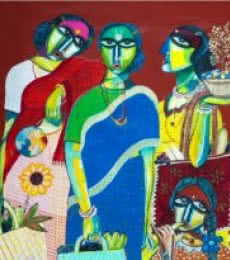 Figurative Acrylic Art Painting title 'Market' by artist Arun K Mishra