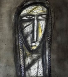 Figurative Charcoal Art Painting title Aryan Face by artist Arun K Mishra
