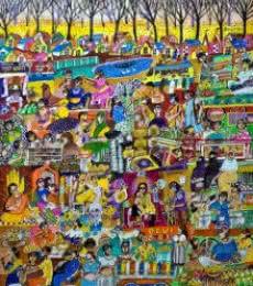 Women MArket Bazar | Painting by artist Arun K Mishra | acrylic | Canvas