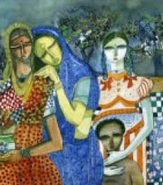 Figurative Watercolor Art Painting title 'Family Potratit' by artist Arun K Mishra