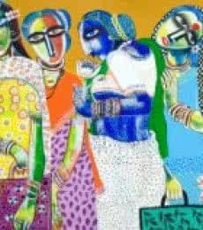Figurative Acrylic Art Painting title Market by artist Arun K Mishra