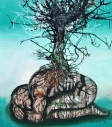 Arun K Mishra | Acrylic Painting title Drought on Canvas | Artist Arun K Mishra Gallery | ArtZolo.com