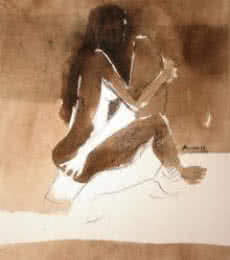Arun K Mishra | Watercolor Painting title Kamasutra Nude Couple on Paper | Artist Arun K Mishra Gallery | ArtZolo.com