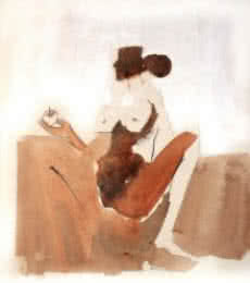 Kamasutra Nude Couple 2 | Painting by artist Arun K Mishra | watercolor | Paper