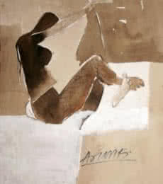 Erotic Watercolor Art Painting title 'Kamasutra Nude Pose' by artist Arun K Mishra