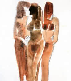 Erotic Watercolor Art Painting title 'Three Nude Women 13 20' by artist Arun K Mishra