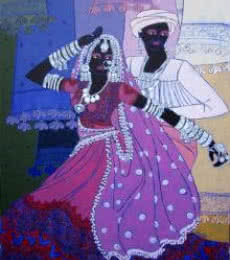 Festive Rhythm - 48 | Painting by artist Anuradha Thakur | acrylic | Canvas