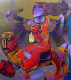 Figurative Oil Art Painting title 'Mahishamardini' by artist Dayanand Karmakar