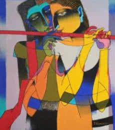 Figurative Oil Art Painting title 'Playing Flute 1' by artist Dayanand Karmakar