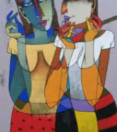 Figurative Oil Art Painting title 'Violin Sellers' by artist Dayanand Karmakar