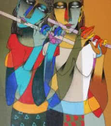 Figurative Oil Art Painting title 'Playing Flute 2' by artist Dayanand Karmakar