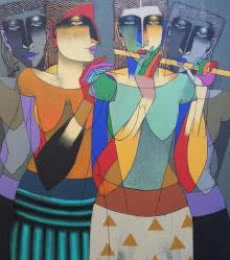 Figurative Oil Art Painting title 'Playing Flute 3' by artist Dayanand Karmakar