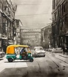 Cityscape Acrylic Art Painting title 'Old Calcutta Street' by artist Arpan Bhowmik