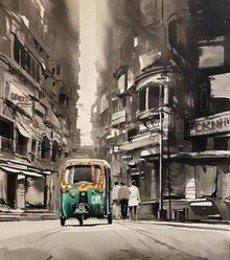 Cityscape Acrylic Art Painting title 'Market view Calcutta' by artist Arpan Bhowmik