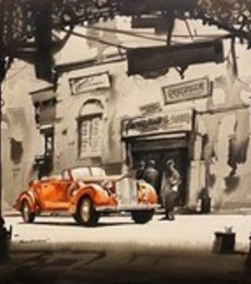 Cityscape Acrylic Art Painting title 'Vintage Car in Calcutta' by artist Arpan Bhowmik
