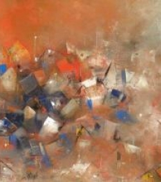 Abstract Acrylic Art Painting title Orange City Abstarct by artist M Singh