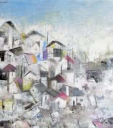M Singh | Acrylic Painting title Grey City Abstract on Canvas | Artist M Singh Gallery | ArtZolo.com
