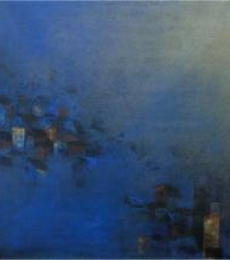 Abstract Acrylic Art Painting title 'Blues City' by artist M Singh