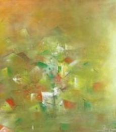 Yellow City Abstract | Painting by artist M Singh | acrylic | Canvas