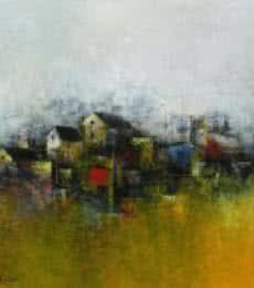 M. Singh | Acrylic Painting title The Village on Canvas | Artist M. Singh Gallery | ArtZolo.com