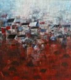 Abstract Acrylic Art Painting title View Of Shanties Up A Hill by artist M Singh