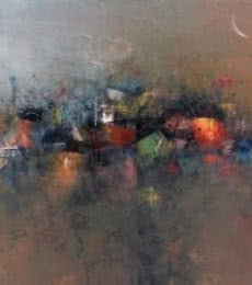M Singh | Acrylic Painting title Abstract City View on Canvas | Artist M Singh Gallery | ArtZolo.com