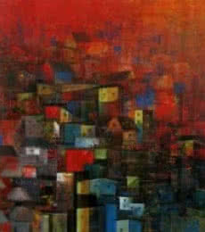 Abstract Acrylic Art Painting title 'City Homes' by artist M Singh