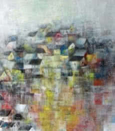 Abstract Acrylic Art Painting title 'Crowded Block' by artist M Singh