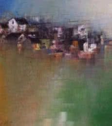 Abstract Acrylic Art Painting title 'Distant Village View' by artist M Singh