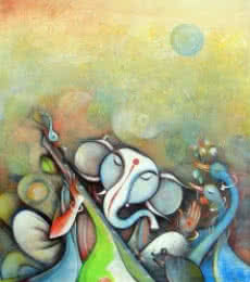 Religious Acrylic Art Painting title 'Ganesha Playing Instrument III' by artist M Singh