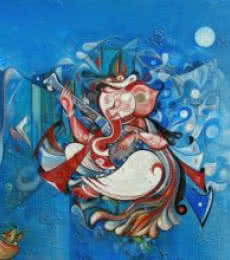 Religious Acrylic Art Painting title 'Ganesha Playing Instrument IV' by artist M Singh