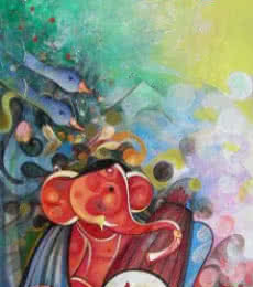 Religious Acrylic Art Painting title Ganesha Playing Instrument V by artist M Singh