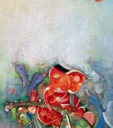 Ganesha Playing Instrument VI | Painting by artist M Singh | acrylic | Canvas