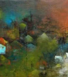 Abstract Acrylic Art Painting title The Village Road by artist M Singh