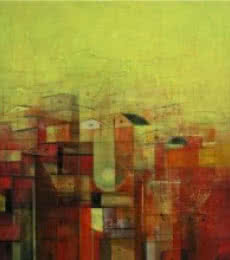 M Singh Paintings | Acrylic Painting - Urban City View by artist M Singh | ArtZolo.com