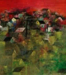 Abstract Acrylic Art Painting title 'Village Houses' by artist M Singh