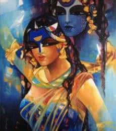 Figurative Acrylic Art Painting title 'Shiv Parvati In Rhythm Iv' by artist Rajeshwar Nyalapalli