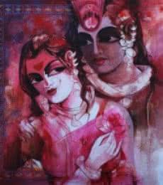 Figurative Acrylic Art Painting title 'Radhakrishna ' by artist Rajeshwar Nyalapalli