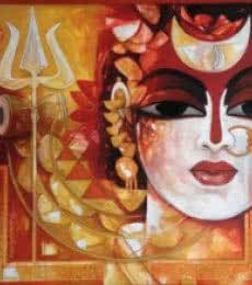 Figurative Acrylic Art Painting title 'Radhakrishna' by artist Rajeshwar Nyalapalli