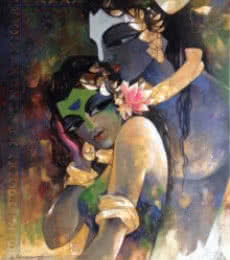 Rajeshwar Nyalapalli | Acrylic Painting title Radhakrishna on Canvas | Artist Rajeshwar Nyalapalli Gallery | ArtZolo.com