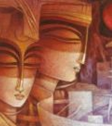 Egyptian King and Queen I | Painting by artist Nityam Singha Roy | acrylic | Canvas