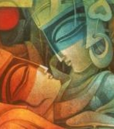 Nityam Singha Roy | Acrylic Painting title Egyptian King and Queen II on Canvas | Artist Nityam Singha Roy Gallery | ArtZolo.com