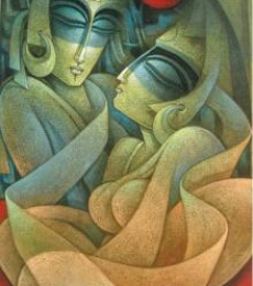Figurative Acrylic Art Painting title Egyptian King and Queen VI by artist Nityam Singha Roy