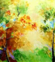 Landscape Oil Art Painting title 'Autumn' by artist Bahadur Singh