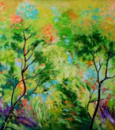 Nature Oil Art Painting title 'Nature Green II' by artist Bahadur Singh
