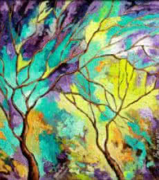 Nature Oil Art Painting title Season Turquoise by artist Bahadur Singh