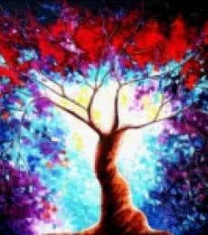 Nature Oil Art Painting title 'Tree Of Life 4' by artist Bahadur Singh