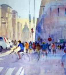 Bicycle Rider | Painting by artist Ravhi Songirkaar | watercolor | Paper