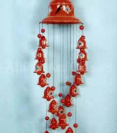 Black Spiral Wind Chime | Terracotta Clay Handicraft | By ABCD- Any Body Can Draw Art Classes